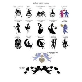 Affiche tatouages pochoirs personnages