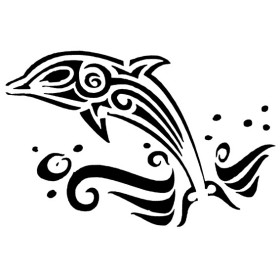 Pochoir dauphin encre et airbrush repositionnable