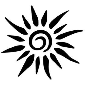 Tatouage soleil avec pochoir airbrush