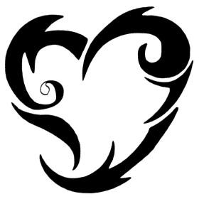 Pochoir tatouage de coeur pour encre et airbrush