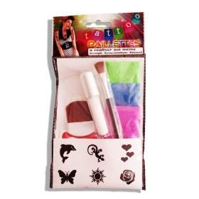 Kit 6 tatouages paillettes fluos